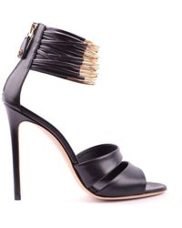 Greymer - Women's Black Leather Sandals - Lyst