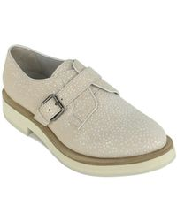 Brunello Cucinelli - Light Pink Leather Dotted Buckle Oxfords - Lyst