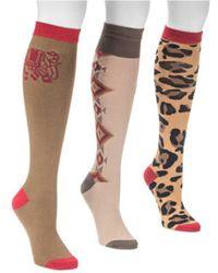 Muk Luks - Women's Love Safari Knee High Socks (3 Pair) - Lyst
