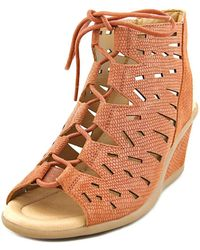 Earth - Daylily Women Open Toe Leather Tan Wedge Sandal - Lyst