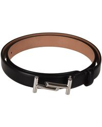 Tod's - Women's Black Leather Belt - Lyst