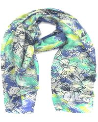 La Fiorentina - Women's Scarf With Sketchy Floral Print - Lyst