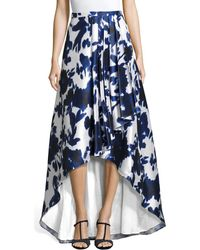 Adrianna Papell - Floral Printed High Low Ball Skirt With Draped Pleating - Lyst