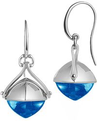 Jewelista - Pyramid Cabochon Blue Topaz Wire Earrings - Lyst