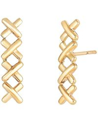 Jewelry Affairs - 14k Yellow Gold 4 Small X Ear Climber Style Stud Earrings - Lyst