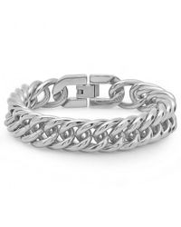 Amanda Rose Collection - Mens Solid Stainless Steel Interlocking Chain Link Bracelet - Lyst