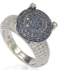 Suzy Levian - Sterling Silver Cubic Zirconia Blue Stone Shape Ring - Lyst