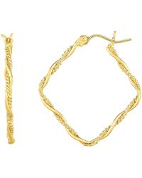 Jewelry Affairs - 14k Gold Yellow Shiny Textured Tube Hoop Fancy Earrings - Lyst