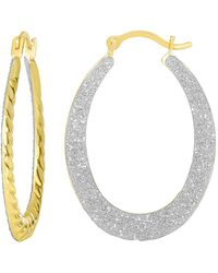 Jewelry Affairs - 10k 2 Tone Yellow And White Gold Glitter Oval Hoop Earrings, Diameter 20mm - Lyst