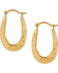 Jewelry Affairs - 10k Yellow Gold Shiny Swirl Design Oval Hoop Earrings, Diameter 20mm - Lyst