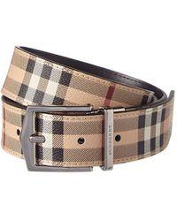 Burberry - Reversible Haymarket Check & Leather Belt - Lyst