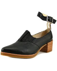 All Black - Heeled Open Boot Strap Pointed Toe Leather Heels - Lyst