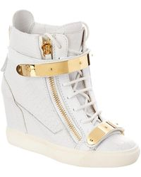 c2d4c47f6cac Giuseppe Zanotti For Jennifer Lopez Embellished Suede High-top Wedge ...