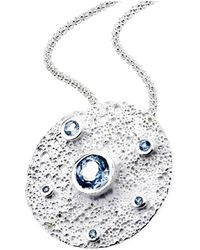 Jewelista - Sterling Silver & Blue Topaz Moon Pendant - Lyst