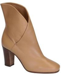 Céline - Women's Brown Leather Ankle Boots - Lyst