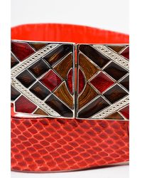 Judith Leiber - 1 Red Brown Silver Tone Reptile Leather Enamel Diamond Plate Belt - Lyst