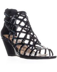 Material Girl - Mg35 Henie Caged Wedge Sandals, Black Patent - Lyst