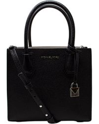 d6bbc3c6bc1f Michael Kors - Women s Medium Mercer Bonded Leather Tote Shoulder Bag -  Black - Lyst