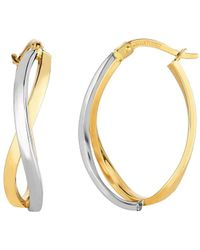 JewelryAffairs | 14k Yellow And White Gold Square Tube Double Criss Cross Ovalish Hoop Earrings | Lyst