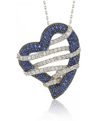 Suzy Levian - Sterling Silver Blue & White Sapphire And Diamond Accent Wrapped Heart Pendant - Lyst