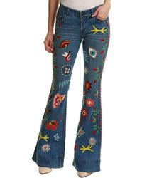 Enjoy Cheap Price Get To Buy Online Alice+olivia Woman Embellished Flared Jeans Blue Size 29 Alice & Olivia PZRz8OEP