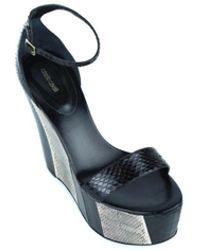 Roberto Cavalli - Womens Black Brown Snakeskin Leather Wedge Heels - Lyst
