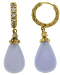 Pangea Mines - 1.5 Inches Blue Lace Agate & White Topaz Drop Earrings - Lyst