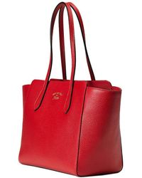 Gucci - Women's Red Leather Small Swing Shoulder Tote Handbag 354408 6516 - Lyst