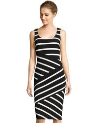 Adrianna Papell - Contrast Striped Sheath Dress With Exposed Zipper Back - Lyst