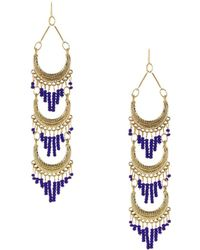 Sparkling Sage - 14k Plated Layered Seed Bead Tassel Drop Earrings - Lyst