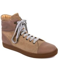 Brunello Cucinelli - Womens Brown Suede Lace Hi Top Trainers - Lyst