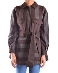 Peuterey - Women's Grey/brown Wool Coat - Lyst