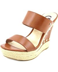 G by Guess - Decaf Women Open Toe Synthetic Brown Wedge Sandal - Lyst