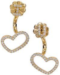 CR By Casa Reale | 18 K Gold White Diamond I Heart U Jacket Earrings | Lyst