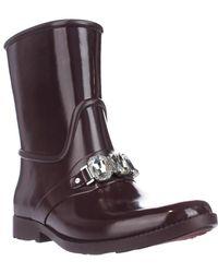 Michael Kors - Michael Leslie Rain Bootie Mid-calf Rain Boots - Plum - Lyst