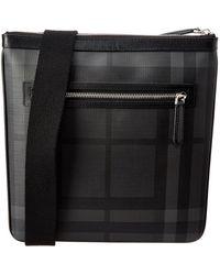 Burberry - Leather Trim London Check Messenger Bag - Lyst
