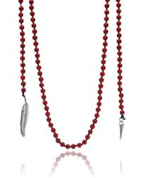 Roberto Cavalli - Red Marble Beaded Feather Pendant Necklace - Lyst