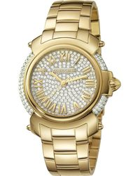 Roberto Cavalli - Womens Gold Watch With Two-tone Silver/full Stones Dial - Lyst