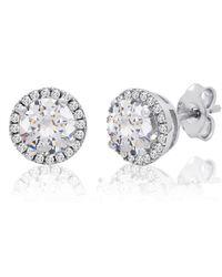 Amanda Rose Collection - Sterling Silver Halo Stud Earrings Of Swarovski Zirconia Encircling Swarovski Crystals - Lyst