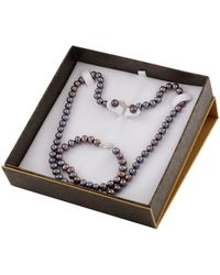 Splendid - 3 Piece Black Freshwater Pearl Set With Matching Necklace, Bracelet And Studs - Lyst