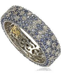 Suzy Levian - Sterling Silver 5 1/3ct Tgw Sapphire And Diamond Accent Eternity Pave Ring - Lyst