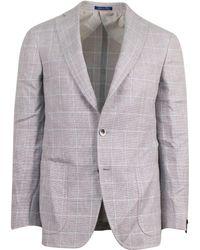 Pal Zileri - Sartoriale Gray Windowpane Linen Blend 3 Roll 2 Button Sport Coat - Lyst