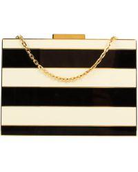 Valentino - Black And Ivory Striped Enamel Box Minaudiere Bag - Lyst