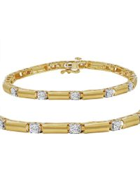 Amanda Rose Collection - Ags Certified 1 1/2ct Tw Diamond Bar Tennis Bracelet In 14k Yellow Gold - Lyst