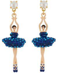 Les Nereides - Luxury Pas De Deux Toe-dancing Ballerina Aurora Blue Crystals Earrings - Lyst