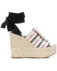 Sergio Rossi - Women's Black/pink Cotton Wedges - Lyst