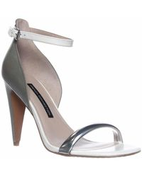 French Connection - Nanette Ankle-strap Dress Sandals - Silver/shark/white - Lyst