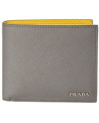 1ca52adede4692 Lyst - Prada Black Saffiano Leather Money Clip Wallet in Black for Men