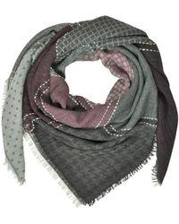 Marina D'este - Women's Grey/red Wool Scarf - Lyst