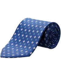 Ferragamo - Navy Gancio Diamond Silk Tie - Lyst